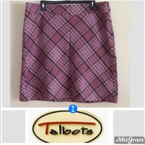EUC Talbots size 16 fully lined purple plaid skirt